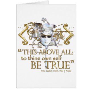 """Hamlet """"own self be true"""" Quote (Gold Version) Card"""
