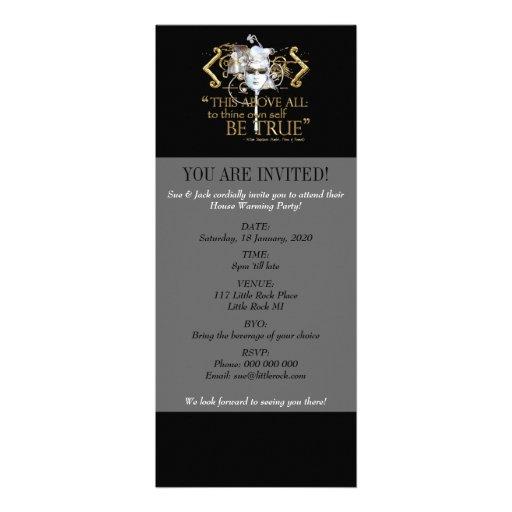"Hamlet ""own self be true"" Quote (Gold Version) Invite"