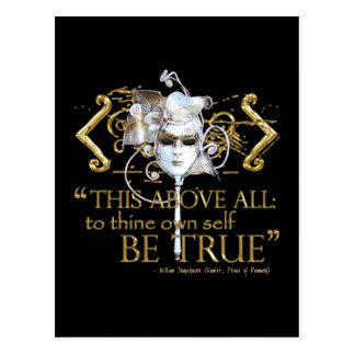"""Hamlet """"own self be true"""" Quote (Gold Version) Postcard"""