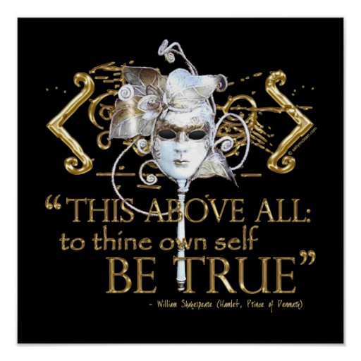 "Hamlet ""own self be true"" Quote (Gold Version) Posters"