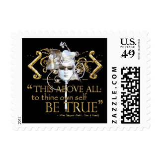 """Hamlet """"own self be true"""" Quote (Gold Version) Stamp"""