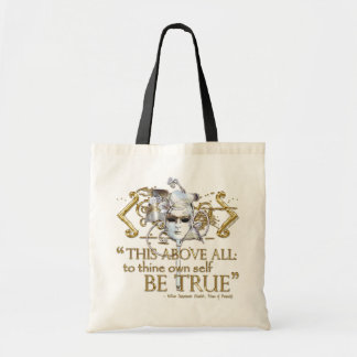 """Hamlet """"own self be true"""" Quote (Gold Version) Tote Bag"""