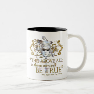 """Hamlet """"own self be true"""" Quote (Gold Version) Two-Tone Coffee Mug"""