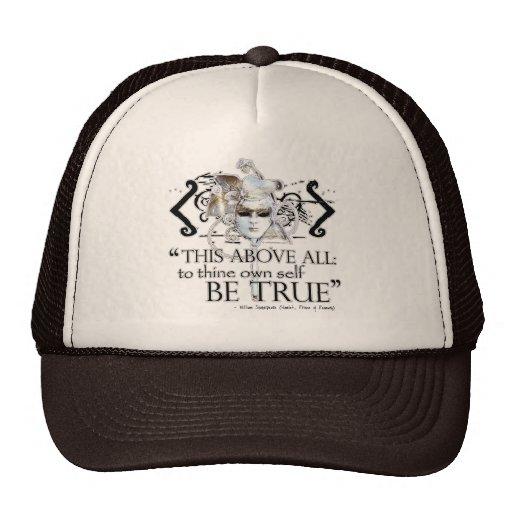 "Hamlet ""... own self be true ..."" Quote Mesh Hats"