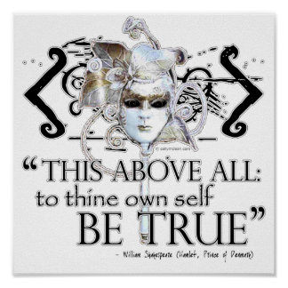 """Hamlet """"... own self be true ..."""" Quote Poster"""