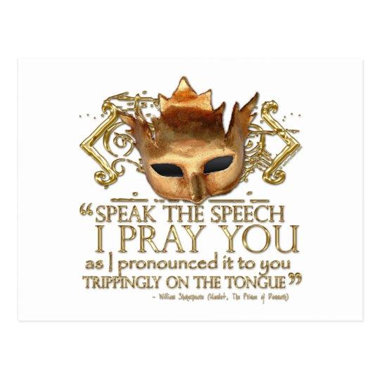 "Hamlet ""speak the speech ..."" Quote (Gold Version) Postcard"