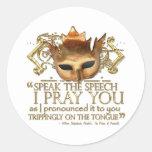 """Hamlet """"speak the speech ..."""" Quote (Gold Version) Sticker"""