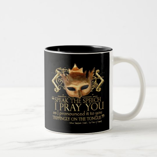 "Hamlet ""speak the speech ..."" Quote (Gold Version) Two-Tone Coffee Mug"