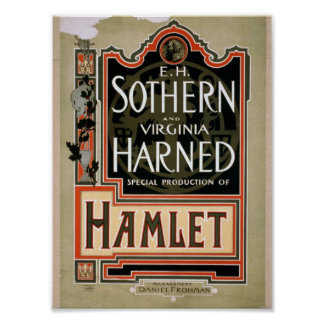 Hamlet Vintage Theater Poster