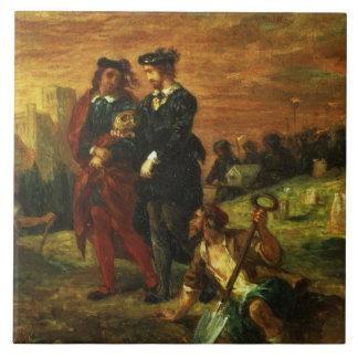 Hamlet y Horatio en el cementerio, 1859 (aceite en Azulejo Cuadrado Grande