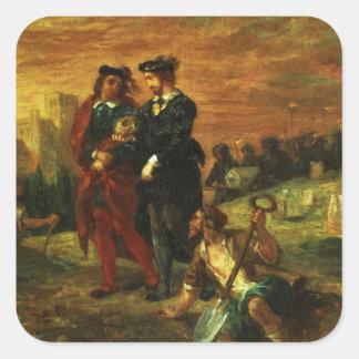 Hamlet y Horatio en el cementerio, 1859 (aceite en Pegatina Cuadrada