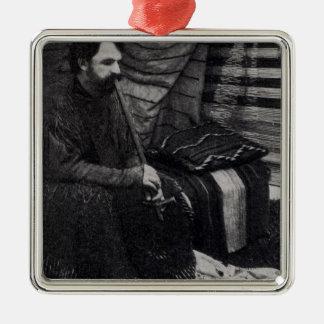 Hamlin Garland in his Cheyenne Teepee Smoking Square Metal Christmas Ornament