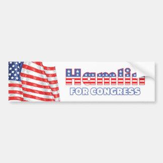 Hamlin para la bandera americana patriótica del co pegatina para auto