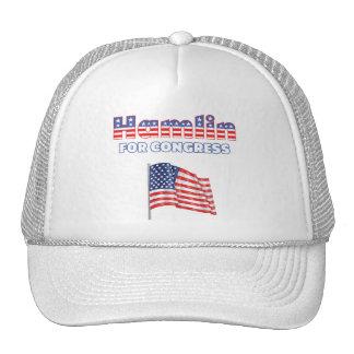 Hamlin para la bandera americana patriótica del co gorras de camionero
