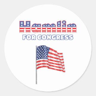 Hamlin para la bandera americana patriótica del etiqueta redonda