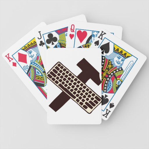 Hammer and keyboard bicycle poker cards