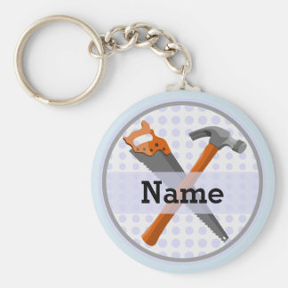 Hammer and saw design for boys keychain