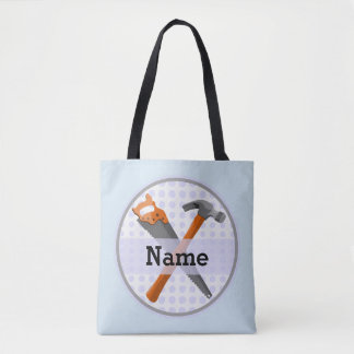 Hammer and saw design for boys tote bag