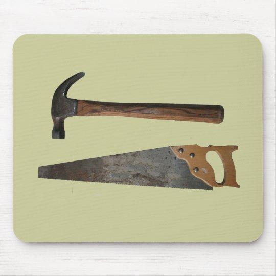 Hammer and Saw Items Mouse Pad
