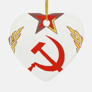 hammer and sickle and star ceramic ornament