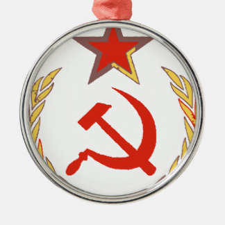 hammer and sickle and star metal ornament