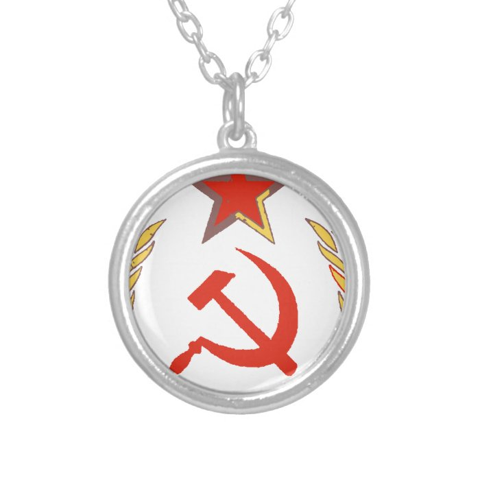 hammer and sickle and star silver plated necklace