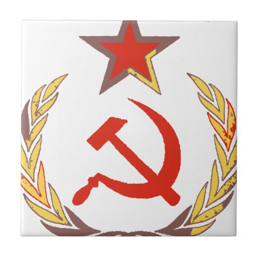 hammer and sickle and star small square tile