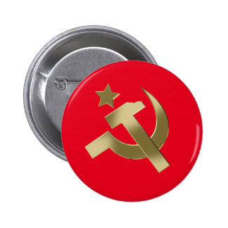 Hammer and sickle pinback button