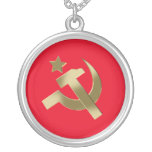 Hammer and sickle round pendant necklace