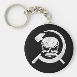 Hammer and Sickle with Skull Basic Round Button Keychain
