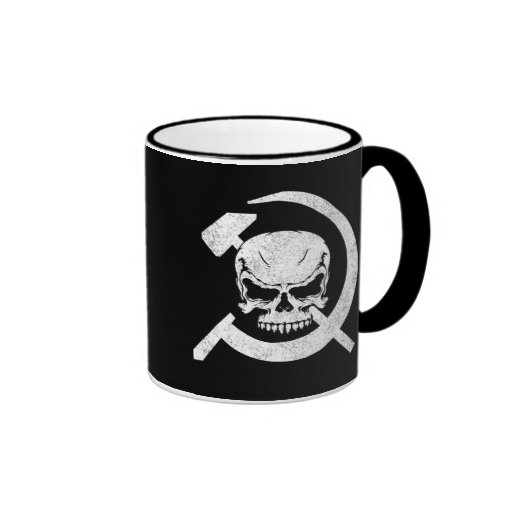 Hammer and Sickle with Skull Ringer Coffee Mug