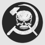 Hammer and Sickle with Skull Round Stickers