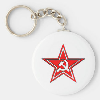 Hammer And Sickle With Star Basic Round Button Keychain