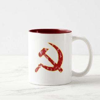Hammer and Sickle (worn look) Two-Tone Coffee Mug