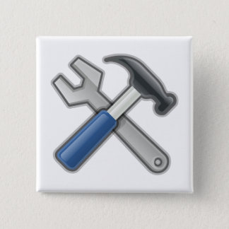 Hammer and Wrench Pinback Button