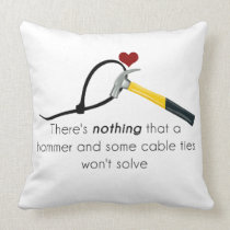 Hammer and zap-strap throw pillow
