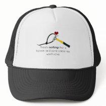Hammer and zap-strap trucker hat