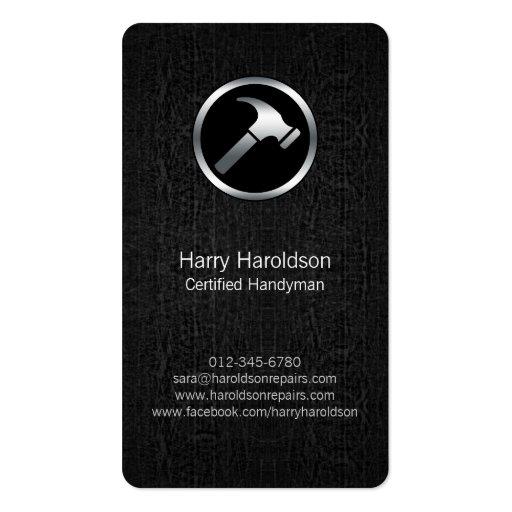 Hammer Icon Black Grunge Handyman Business Card