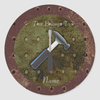 Hammer, Screwdriver, Pegboard on Aged Background Round Sticker
