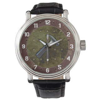 Hammer, Screwdriver, Pegboard on Aged Background Wristwatch