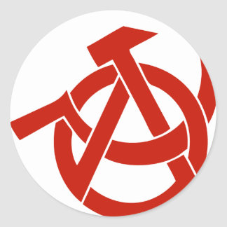HAMMER  SICKLE ANARCHY LOGO CLASSIC ROUND STICKER