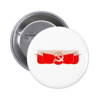 Hammer Sickle and Red Flags Pinback Buttons