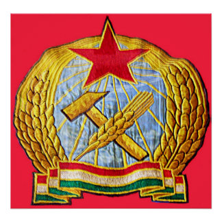 Hammer, Sickle, Soviet Star and Hungary Flag Poster