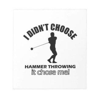 hammer throw design notepad
