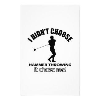 hammer throw design stationery