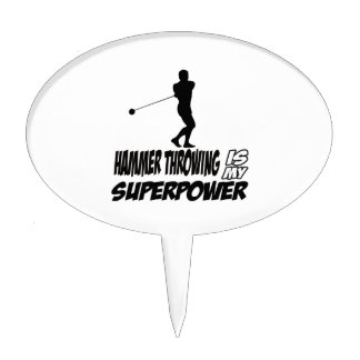 Hammer Throwing Superpower Designs Cake Topper