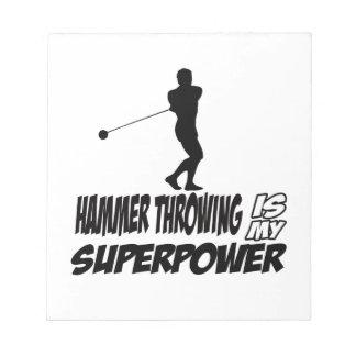 Hammer Throwing Superpower Designs Notepad