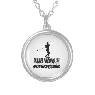 Hammer Throwing Superpower Designs Silver Plated Necklace