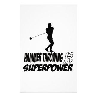 Hammer Throwing Superpower Designs Stationery