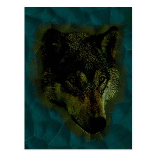 Hammered Blue Metal Wolf Postcard